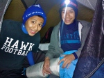 Fer and Eric in their tent on a cold yet successful night